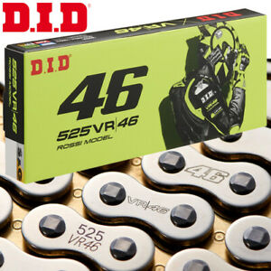 DID 525VR46 Valentino Rossi Kette 114 Rollen silber/gold Nietkette Motorrad
