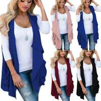 Women Solid Waterfall Vest Coat Casual Open Front Cardigan Jacket Outwear Tops