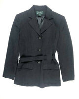 Ralph Lauren Women's 8 S M Wool Belted Charcoal Blazer Jacket Work Classic g4p