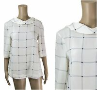 ex M&S Autograph Ivory Loose Fit Grid Print Folded Collar Work Top
