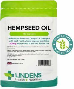 HEMP SEED OIL CAPSULES 1000mg High Strength 100 pk LINDENS Hempseed Omega 3 & 6