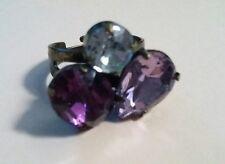 Donna Anello in ottone regolabile impreziosito con cristalli viola chiaro Taglia 6-10