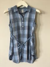 New Gap Maternity Sleeveless Tunic Shirt Women's Size Small Blue Plaid NWOT