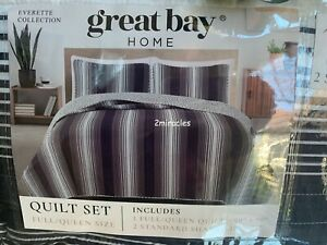 Great Bay Home Navy White Stripe 3pc Quilt Set Bed Bedroom Full/Queen
