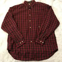 Tommy Hilfiger Mens Size Medium Red Plaid Flannel Long Sleeve Button Down Shirt