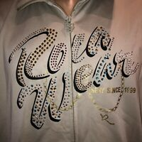 Vintage Rocawear Full Zip Jacket Plus Size Womens 2X Bling Rhinestones Beige Tan
