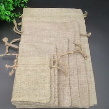 Wedding Natural Hessian Burlap Jute Favour Gift Bags Drawstring Sack Pouch Logo