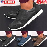 Women's Zipper Sneakers Leather Comfy Non-slip Casual Flat Sport Shoes US 6-9