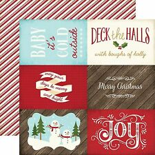 """Echo Park THE STORY OF CHRISTMAS """"4x6 journaling cards"""" 12x12 Paper 2 sheets"""