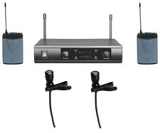 Professional UHF Dual  Lavalier Clip on Lapel Microphone Wireless System