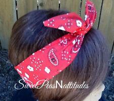 Wire Headband Wired Dolly Bow  Red Bandanna  Rockabilly Hair Scarf  Turban