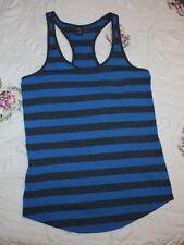 Zine Womens XS Cobalt Blue & Gray Racerback Tank Top Shirt Striped, Small Pocket