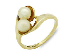 Women's 2 Pearl Ring in Unique 14k SOLID Yellow Gold Setting
