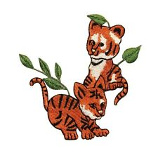ID 0660 Pair of Tiger Cubs Patch Bengal Wild Cats Embroidered Iron On Applique