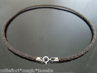 """4mm Brown Braided Leather Sterling Silver Necklace Or Wristband 16"""" 18"""" 20"""" 22"""""""