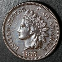1875 INDIAN HEAD CENT - XF EF - With REPUNCHED DATE *SNOW-3* RPD