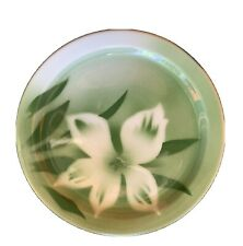 """Green Airbrushed Flower Jackson China Co Restaurant Ware Plate 7 1/4"""""""