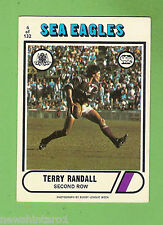 1976 SCANLENS  RUGBY LEAGUE CARD #6  TERRY RANDALL, MANLY SEA EAGLES