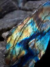 Beautiful Labradorite Feldspar Gemstone One Side Polished Other Side Natural