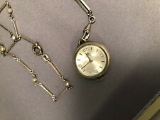 "BUCHERER Pendant Skeleton Swiss Watch 14"" Chain working but losing time."