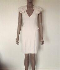 BCBG MAXAZRIA Runway Collection Beige Nude Ruffle Shoulder Dress Size 0 UK 6