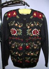 UGLY SWEATER: LUCIA PETITES Ramie/Cotton Woman's Sweater Black w/red/green