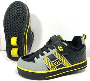 Heelys X2 Roller Skate Shoes that light up! Boy's Size Youth 1 Black And Yellow