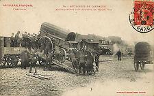 ARTILLERIE FRANCAISE CARTE POSTALE EMBARQUEMENT FOURGON SUR WAGON TOULOUSE 1908