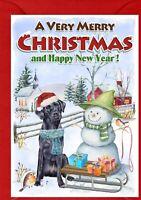"Labrador (Black) (4""x 6"") Christmas Card (Blank inside) - designed by Starprint"