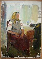Russian Ukrainian Soviet Oil Painting female portrait soc realism grandmother
