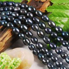 7x9MM Black Akoya Cultured Pearl Loose Beads 15 inch AAAA