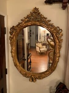 Antique French Gold Leaf Hand Carved Wood Wall Mirror