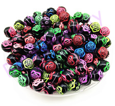 50Pcs 8mm Black Acrylic Rose Flower Beads Jewelry Making DIY Bracelet Necklace