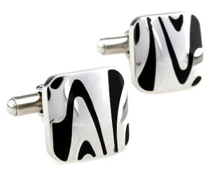 Black and Silver Zebra Stripe Mens Wedding Gift Cuff Links by CUFFLINKS DIRECT