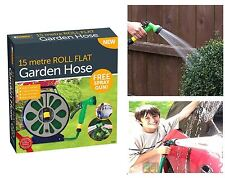 Garden 50ft 15m flat hose pipe & reel with spray nozzle gun outdoor watering