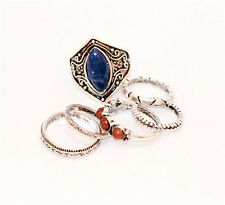 Chic Mixed 6pcs Tibet Silver Vintage Fashion Jewelry Bead Rings Size 7 for women