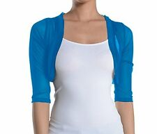 Fashion Secrets Juniors Sheer Bolero Mesh Chiffon Shrug Jacket Cardigan 3/4 slv