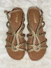 Report Girl's Sandals, Sz 5 Youth Constance GP, Gold, Braided