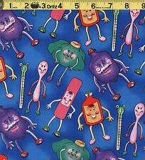 Doctor Nurse Happy Medicine Get Well Timeless Treasures 100% Cotton Fabric BTHY