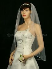 1T Ivory Bridal Fingertip Length Rattail Edge Wedding Veil