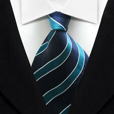 TK022 Blue White Stripe New Classic WOVEN Silk JACQUARD Necktie Men's Tie
