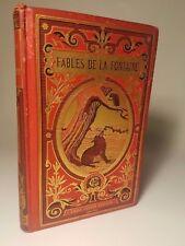 c. 1900 FABLES DE LA FONTAINE DECORATED BINDING ANIMAL CHILDREN ANIMALS LEFEVRE