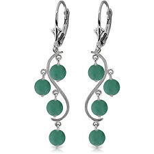 4 Carat 14K Solid White Gold Chandelier Earrings Natural Emerald