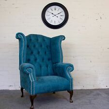 HANDMADE FABRIC QUEEN ANNE WING CHAIR ARMCHAIR EXTRA HIGH BACK 25 COLOURS