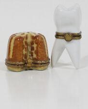 Lot 2 Limoges France Trinket Boxes - Tooth + Bundt Cake Box Peint Main