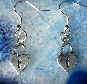 Earrings Heart Silver Coloured Symbol of Love Hook Made 925 No 11