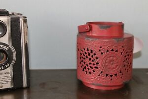 Shabby Chic 'Lace' Style  Tea Light Lantern - Rustic Red