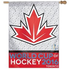 "TEAM CANADA WORLD CUP OF HOCKEY 2016 TORONTO 27""X37"" BANNER FLAG NEW WINCRAFT"