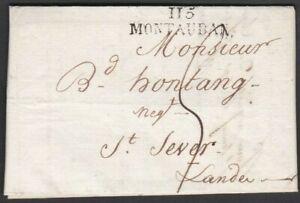"""FRANCE 1817 ENTIRE LETTER + FINE """"115 / MONTAUBAN"""" HANDSTAMP TO ST. SEVER"""