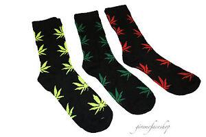 Mens weed socks, cotton rich cannabis, marijuana, socks hip 3 pack present black